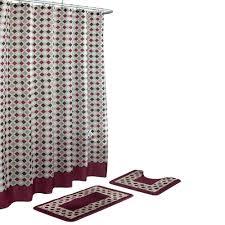 Bathroom Sets Shower Curtain Rugs by Bath Fusion Christine Barn Red Espresso 15 Piece Bath Rug And