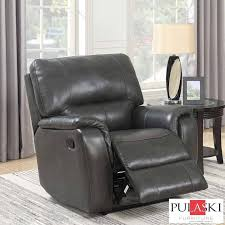 pulaski grey leather manual recliner chair all sofas living room