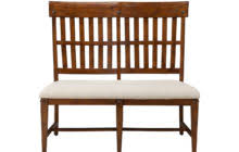 high back brown mahogany wood dining bench with leather seat