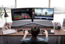 computer desks for gamers samsung u0027s vast 49 inch curved gaming monitor is probably overkill