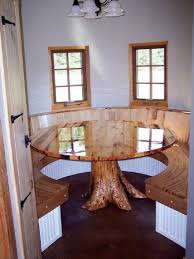 kitchen natural wooden rounded kitchen booth seating with high
