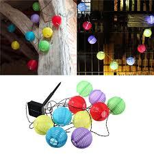 mini 10 led solar power chinese lantern garden string lights lamp