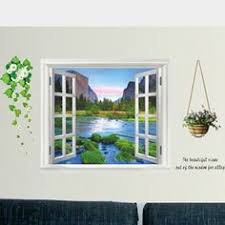 Decorative Window Decals For Home 3d Removable Seascape Fake Window Wall Stickers Sunshine Beach