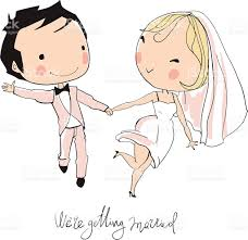 Groom And Groom Wedding Card Wedding Card Of Cartoon Bride And Groom Announcing Marriage Stock