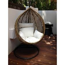 Hanging Chairs Outdoor Outdoor Hanging Ball Chair White Cushion Brown Interior Secrets