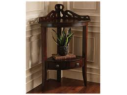 Storage Console Table by Furniture Brown Lacquered Pine Corner Table With Bottom Display