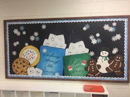 winter bulletin board cookies and chocolate and marshmallows