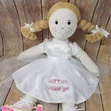 flower girl doll gift flower girl gift personalised beautiful brown hair rag doll