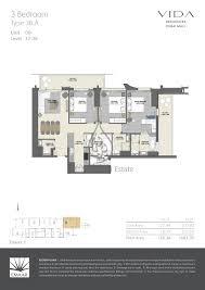 3 Floor Mall by Vida Residences Dubai Mall 4 Bed Type 4b A Floor Plan