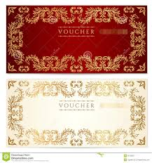 voucher gift certificate template gold pattern royalty free