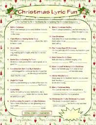 Free Printable Christmas Song Lyric Games | christmas lyrics game christmas song game christmas carol