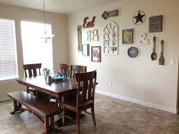 farmhouse shabby chic dining room gallery wall kitchen table