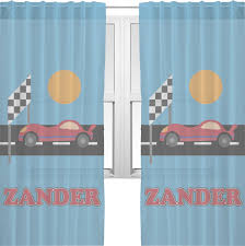 race car window sheer scarf valance personalized potty