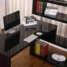 gym equipment rotating home office corner desk and shelf combo black