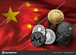 Image Chinese Flag Stack Of Bitcoin Coins On Chinese Flag Situation Of Bitcoin And