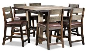 allison pine 7 piece pub height dining room set antiqued pine