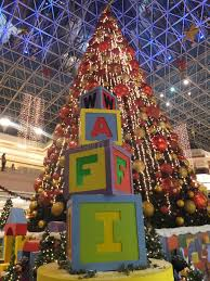decorations at wafi mall in dubai editorial photography