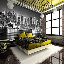 New York City Bedroom Furniture by New York City At Night Skyline View Black U0026 White Wallpaper Mural