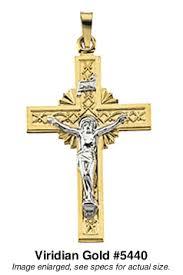 crucifix jewelry crucifix pendant in two tone gold 5440