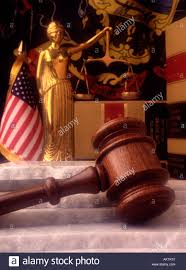 Flag Desecration Law Still Life Statue Lady Justice Law Books Judges Gavel Marble Stone