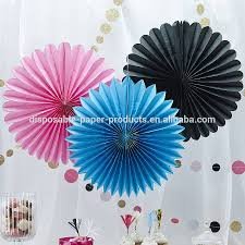 white paper fans white green blue hanging tissue paper fans garden birthday party
