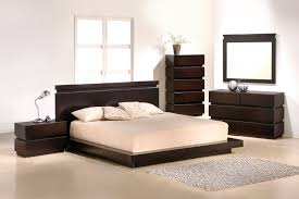 queen size brown mahogany wood low profile bed frame of