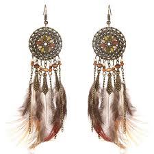 feather earrings s fashion drop feather earrings bohemia women s feather tassel