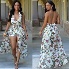 2017 split bohemian maxi rompers long casual summer dresses