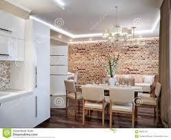 modern living room kitchen and dining room stock illustration