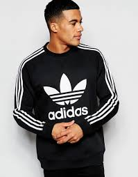 cost effective men adidas originals trefoil sweatshirt black