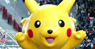 thanksgiving day parade 2014 pikachu balloon floats in macys thanksgiving day parade