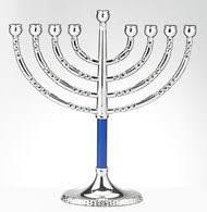 hanukkah menorah hanukkah menorah with blue accents yourholylandstore