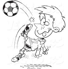 cartoon vector of cartoon boy doing a soccer kick coloring page