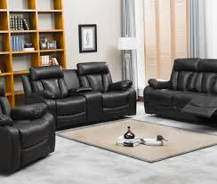 Black Leather Reclining Sofa And Loveseat Naples Reclining Sofa Loveseat W Cupholders And Console Set