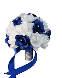 wedding flowers royal blue bridal bouquet royal blue white with ribbon and
