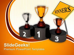 winners podium powerpoint templates slides and graphics