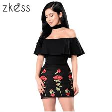 zkess ruffle off shoulder summer dresses floral embroidered little