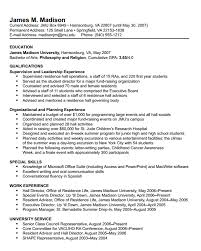 Sample Resume For On Campus Job by James Madison University Resume Format