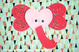 valentine elephant kid craft glued to my crafts