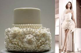 ruffled wedding cake inspired by wedding gown cake by melinart