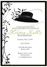 big hat brunch invitations kentucky derby bridal theme shower invitation each with