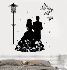 Home Stencil Aliexpress Com Buy Romantic Lovers Marry Wall Art Decal Sticker
