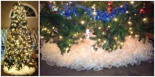 woman turns her 1980s wedding dress into a fluffy christmas tree skirt