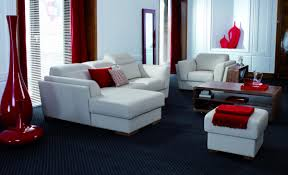red curtain black carpet floor brown wooden table modren living