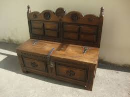 country rustic furniture wood bench with chest original key