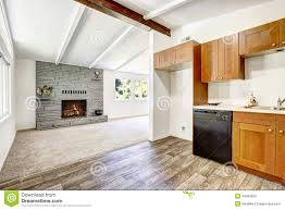 empty old house interior kitchen and living room stock photo