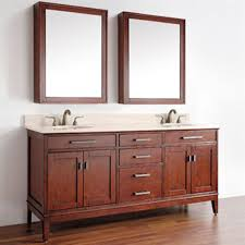 double sink bathroom vanity lowes toiletry shelves lacquered teak