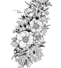 tattoo of flowers u2013 blackwork flora flower u2013 addflash org