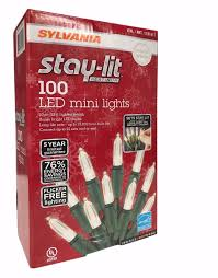2 x sylvania stay lit platinum 100 count led mini warm