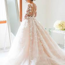 pearl lace gown illusion back pearl pink tulle wedding dress